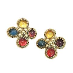 Vintage  Yves St. Laurent Rive Gauche France Multi-Color Earrings
