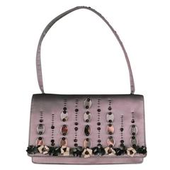 PRADA Gray Silk Evening Handbag