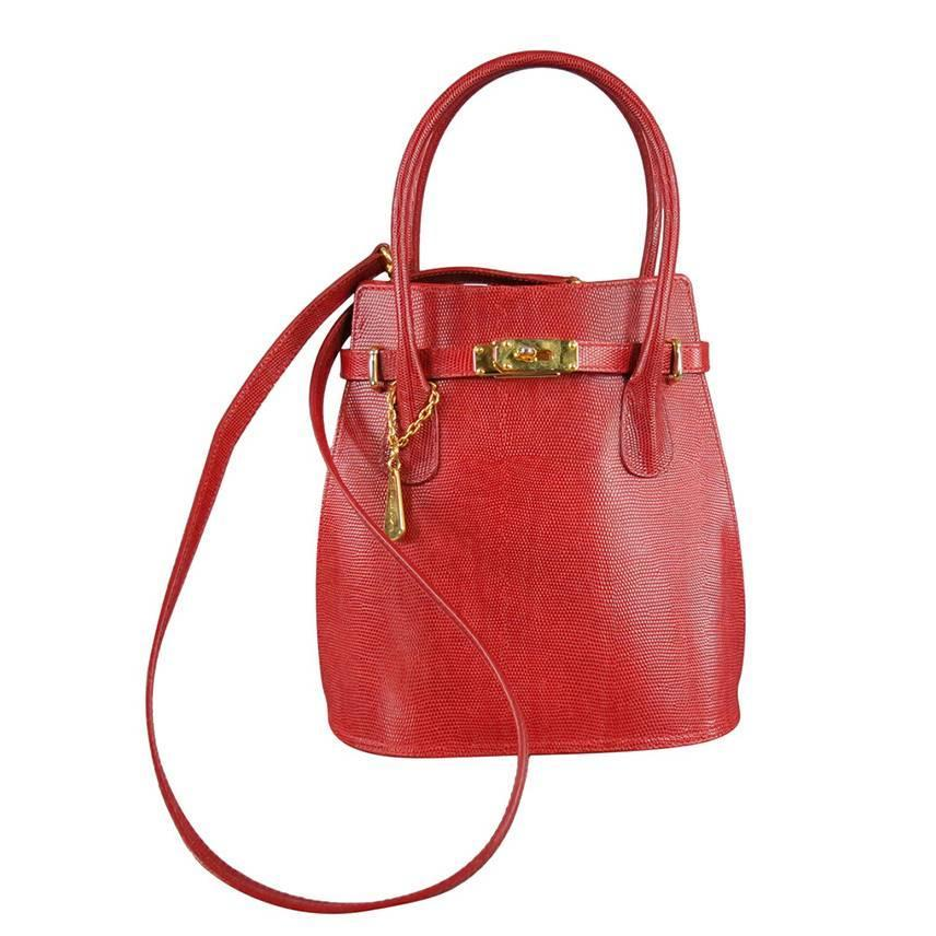 00d6874879d8 Vintage LANCEL Red Leather Cross Body Handbag at 1stdibs