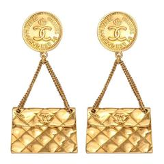 Chanel 2.55 quilted bag motif earrings