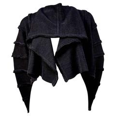 1980's ISSEY MIYAKE charcoal draped sweater