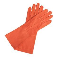 Chanel Red/Orange Lambskin Gloves, Never Worn