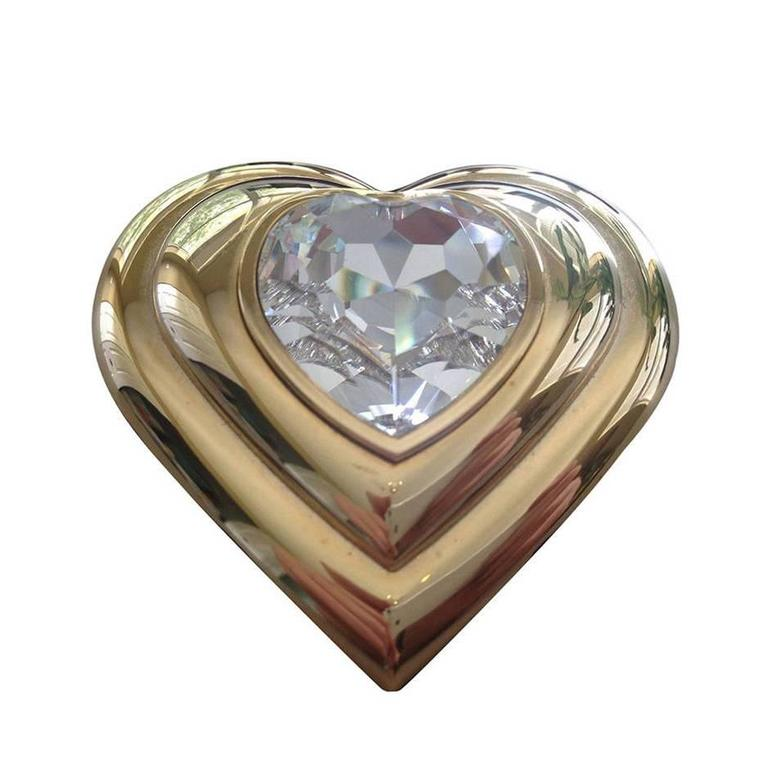 Yves Saint Laurent Paris Poudre Ecrin Crystal Heart Jeweled Compact  YSL 1