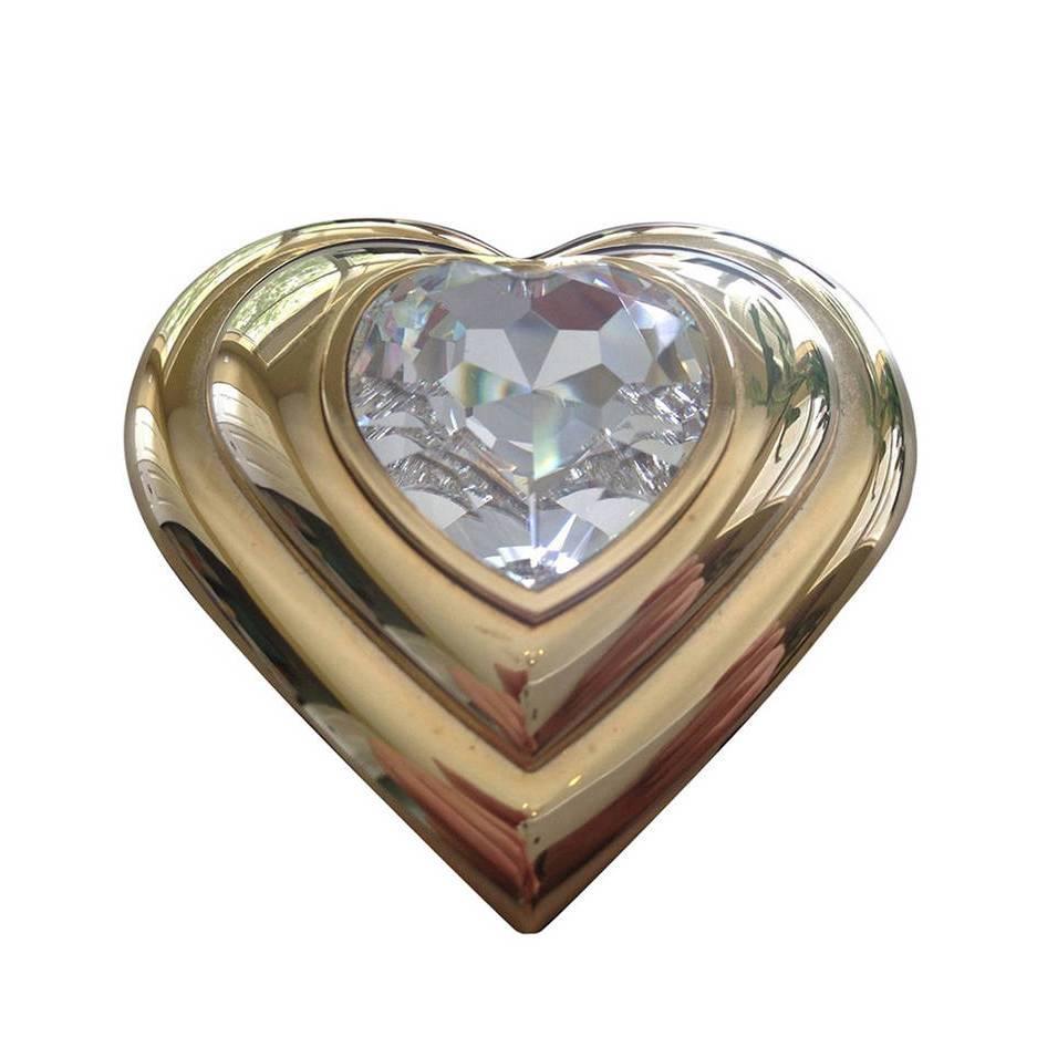 Yves Saint Laurent Paris Poudre Ecrin Crystal Heart Jeweled Compact YSL