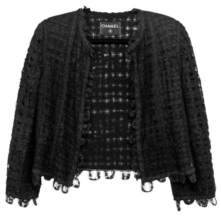 CHANEL Black Lace Open Front Jacket sz M For Sale