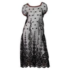 1920s Art Deco Silk Lace Dress