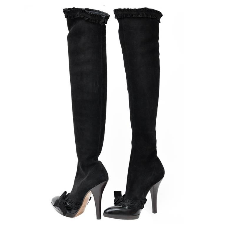 A/W 2001 TOM FORD for YVES SAINT LAURENT BLACK OTK BOOTS 37 - 7