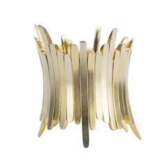 Striking Sculptural Bar Link Gold and Silver Stretch Cuff Bracelet
