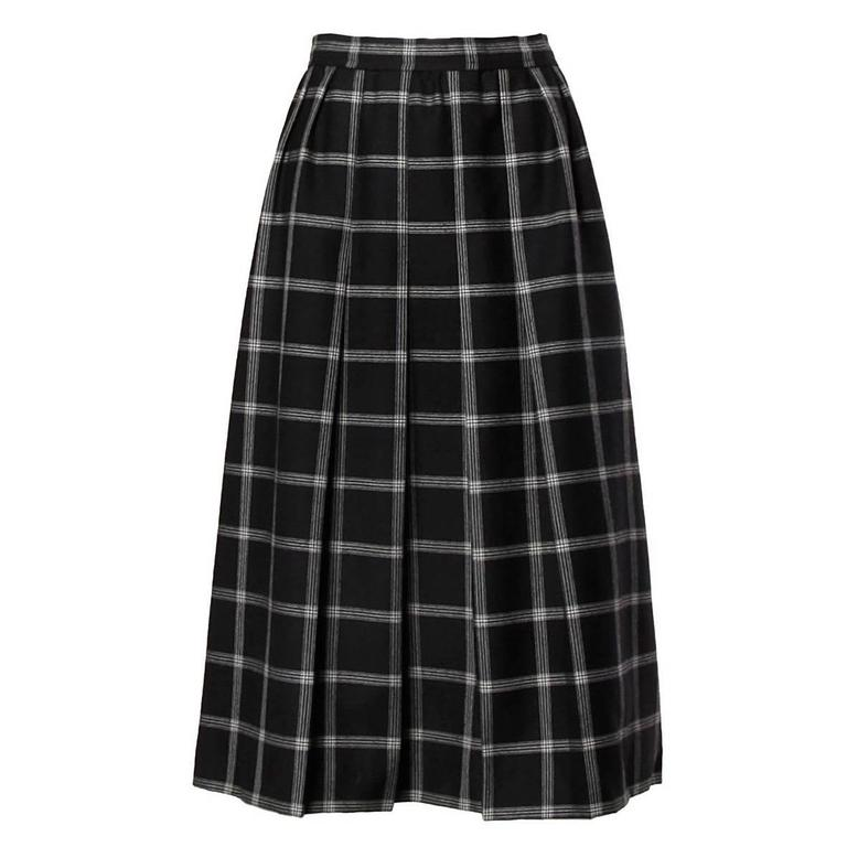 Koos Van Der Akker Vintage Black + White Plaid Wool Skirt 1