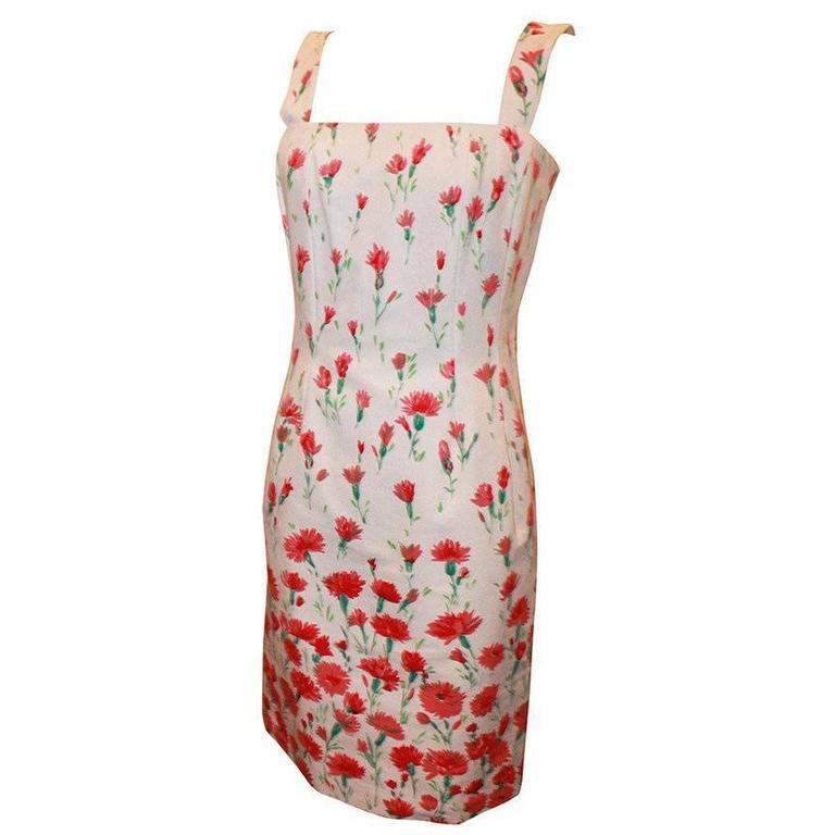 Oscar de la Renta White and Red Floral Print Cotton Dress  For Sale