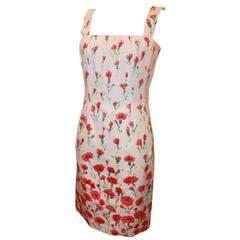 Oscar de la Renta White and Red Floral Print Cotton Dress