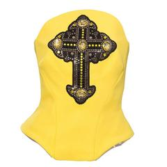 Versace Bustier Appliqued Gothic Cross Swarovski PVC Trim , Autumn - Winter 2012