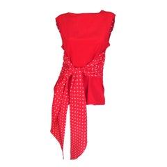 Valentino Polka Dot Red Silk Blouse