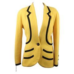 CHANEL Vintage Yellow Wool BLAZER Jacket w/ Black CONTRAST Trim Sz 36