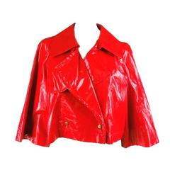 2007's LANVIN Size 6 Glossy Red Cropped Raincoat Jacket