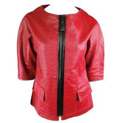 LONGCHAMP Size S Red Coated Material Zip Jacket