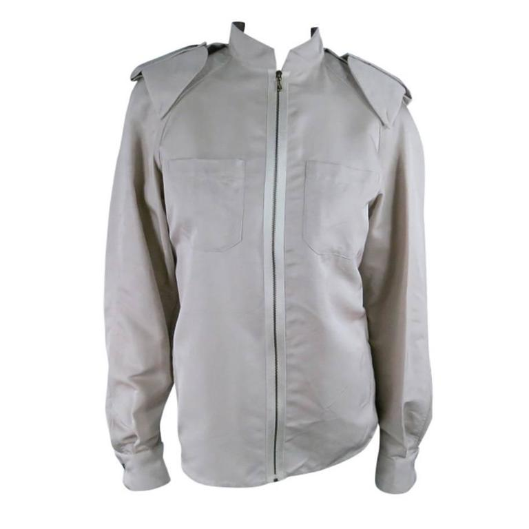 LANVIN Size 4 Khaki Silk Epaulete Jacket 2006 For Sale