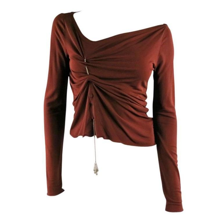 JEAN PAUL GAULTIER Size 8 Brown Rayon Dress Top For Sale
