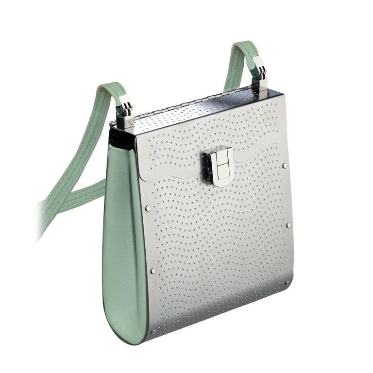 Wendy Stevens Stainless Steel Powder Blue Leather Tangent Bag