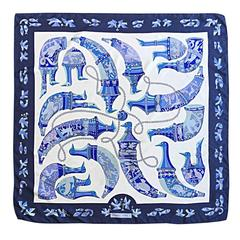 Rare 1975 Vintage Hermes ' Ryhtons ' by Karin Swildens Large Blue Silk Scarf