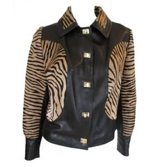 Brown Leather Jacket with Zebra Printed Pony Skin Fur
