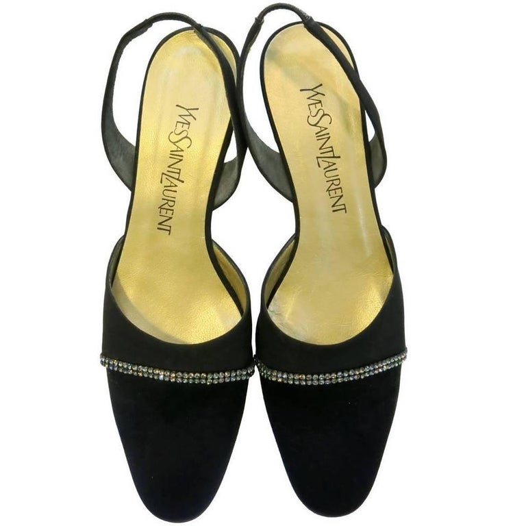 Yves Saint Laurent Black Satin Slingback Pumps with Rhinestone Detail, 1990s