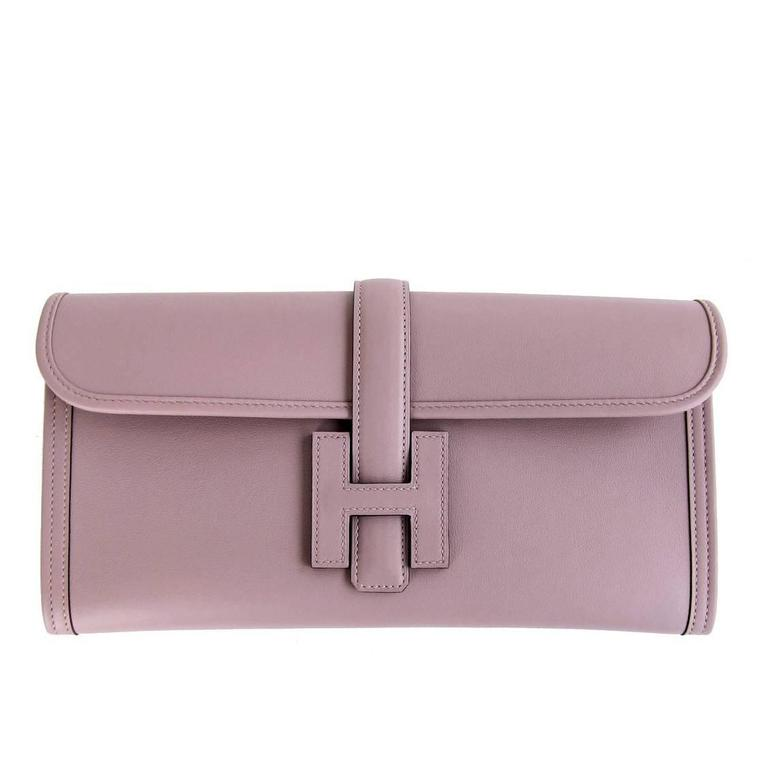 HERMES Glycine Lilac Jige Swift Elan Leather Clutch 29cm So Pretty! 1
