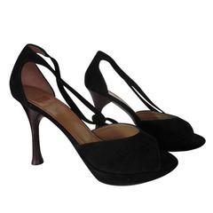 Charles Jourdan black suede peep toe shoes