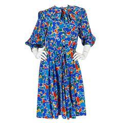 1980s Yves Saint Laurent Blue & Brights Silk Dress