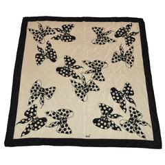 "Mondi Cream & Black ""Bows"" Silk Scarf"
