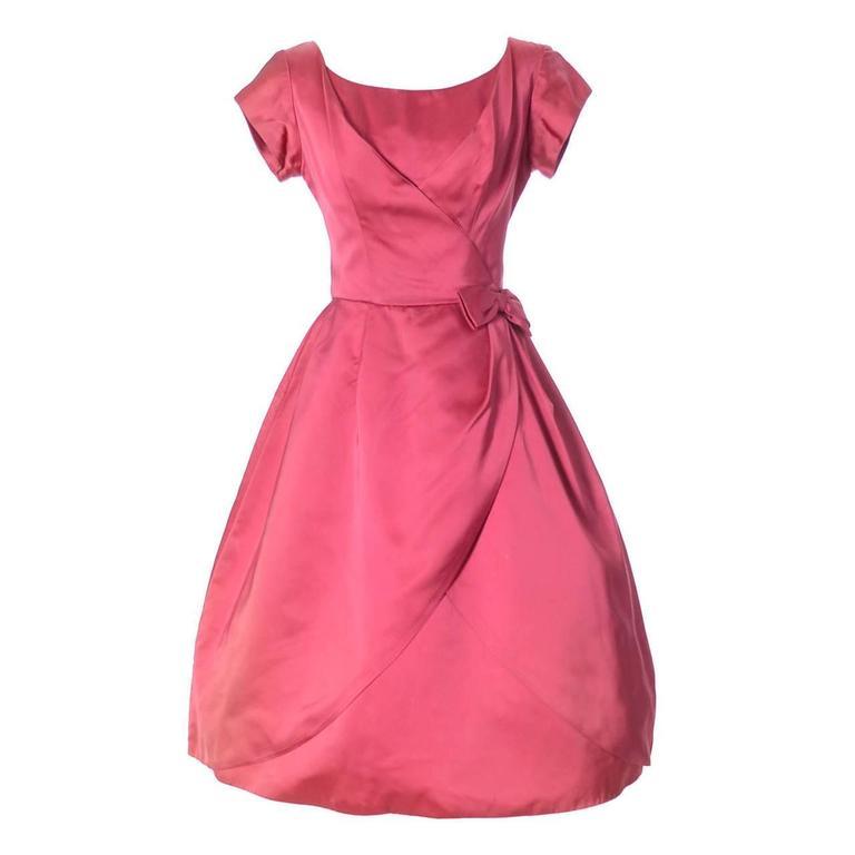 1950s Kay Selig Dress Vintage Pink Satin Dress Party Frock Full Skirt For  Sale at 1stdibs