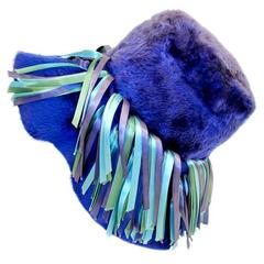 Christian Dior Chapeaux Blue Fur Wide Brim Hat w/ Ribbon Detail