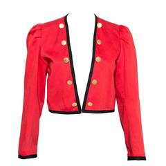 1980s Yves Saint Laurent Red Bolero Jacket