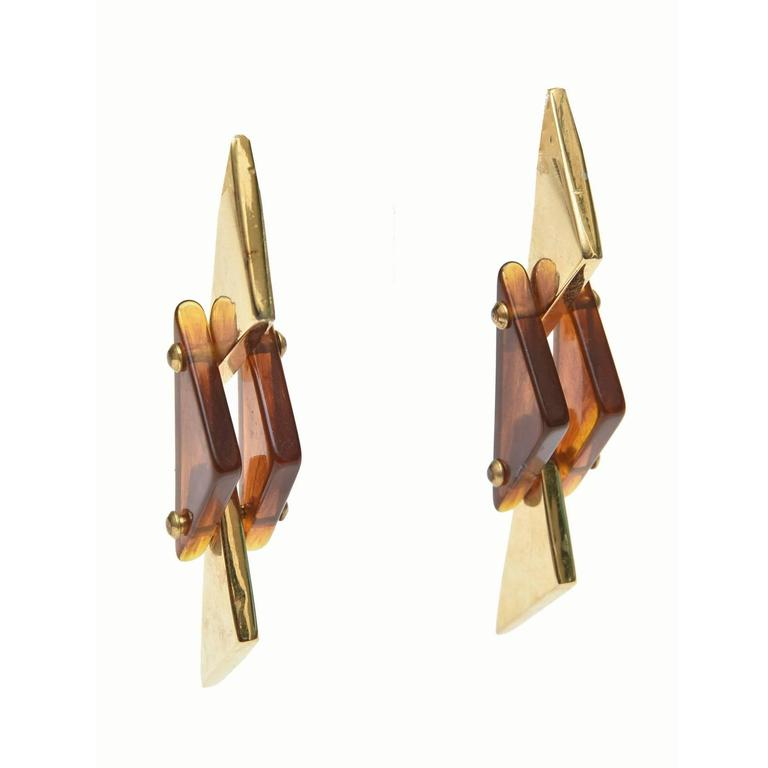 Pair of Sculputural Brass and Amber Lucite Earrings For Sale