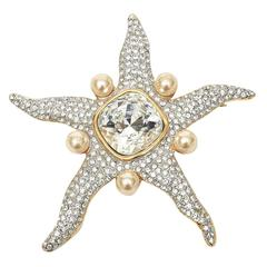 Valentino Signed Faux Pearl Glass Rhinestone Starfish Pin