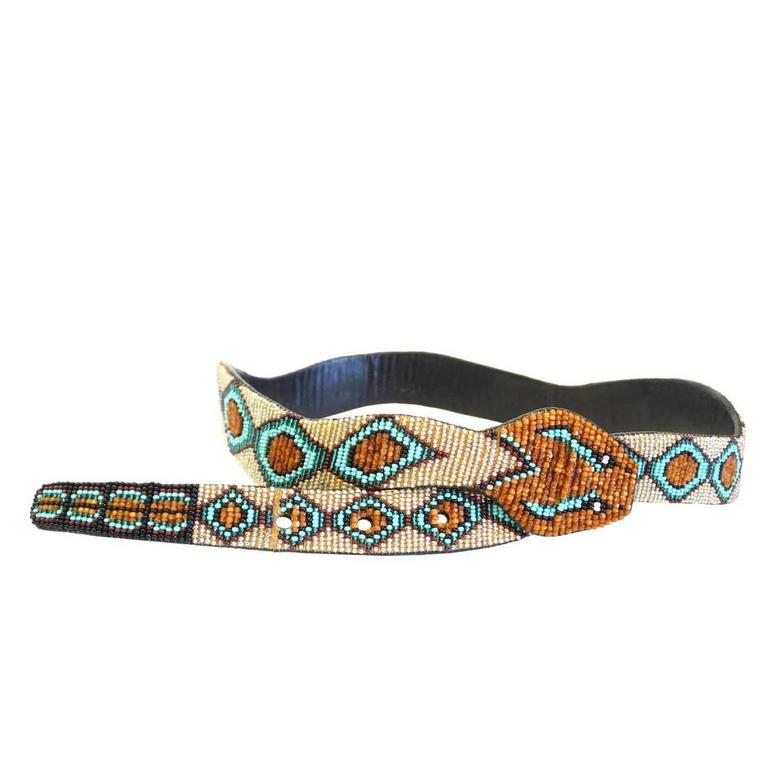 1990s Beaded Diamondback Rattlesnake Belt For Sale