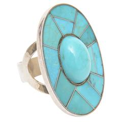Sculptural Sterling Silver and Turquoise Ring
