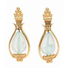 Pair of Gold Plated Drop Clip On Earrings with Turquoise Resin Drop