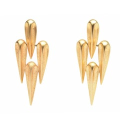 Pair of Sculptural Pierced Gold Plated Earrings.