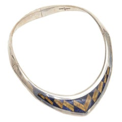 Sterling Silver, Lapis and Tiger's Eye V Collar Necklace