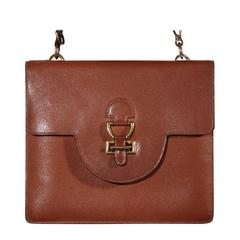 HERMES PARIS Vintage 1960s Tan Leather FLAP SHOULDER BAG Handbag PURSE