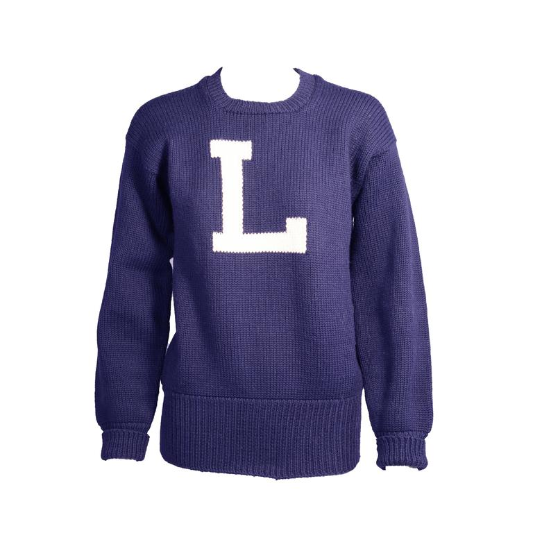 Vintage Navy & White Letter Sweater
