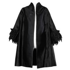 1960s Vinchi Vintage Italian Couture Sculptural Silk Petal Swing Coat