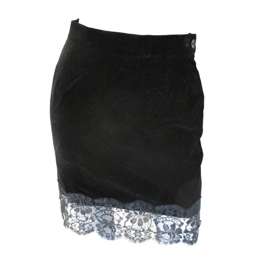 Yves Saint Laurent black velvet skirt with lace, 1980s