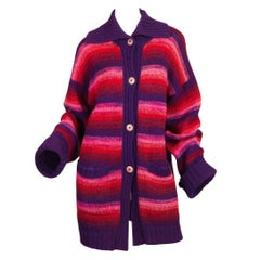 1980S Kansai Yamamoto Pink  & Purple Wool Knit Oversized Striped Sweater Cardig