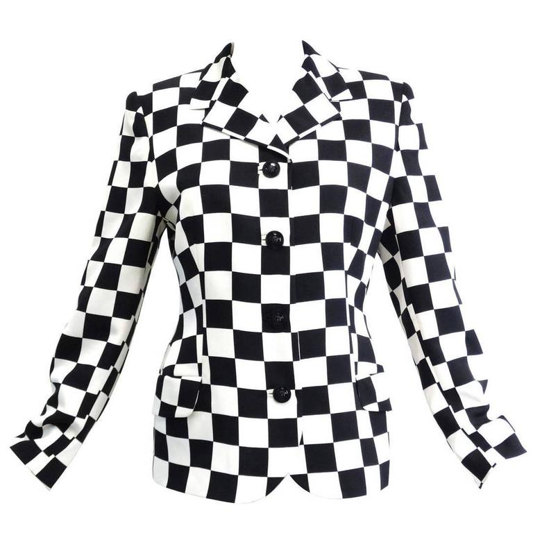 "1994 Gianni Versace Couture "" Silk Checkered"" Jacket 1"