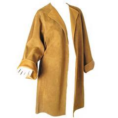 Rare Hermes Lambskin Camel Suede Coat