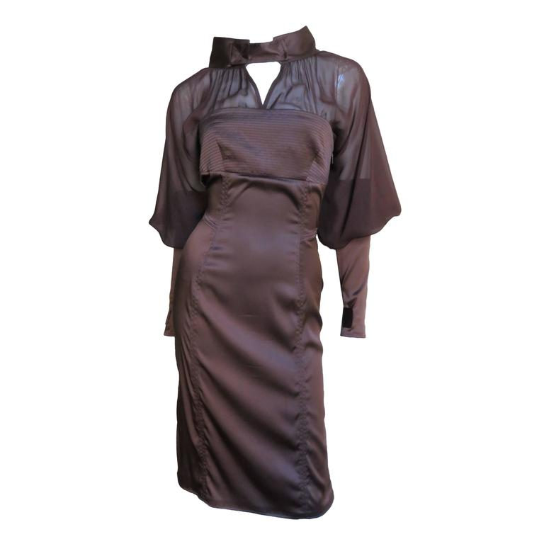 2004 Tom Ford For Gucci Chocolate Silk Dress