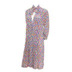 1970s Charles Jourdan Designer Vintage Silk Dress France Multi Color Polka Dots
