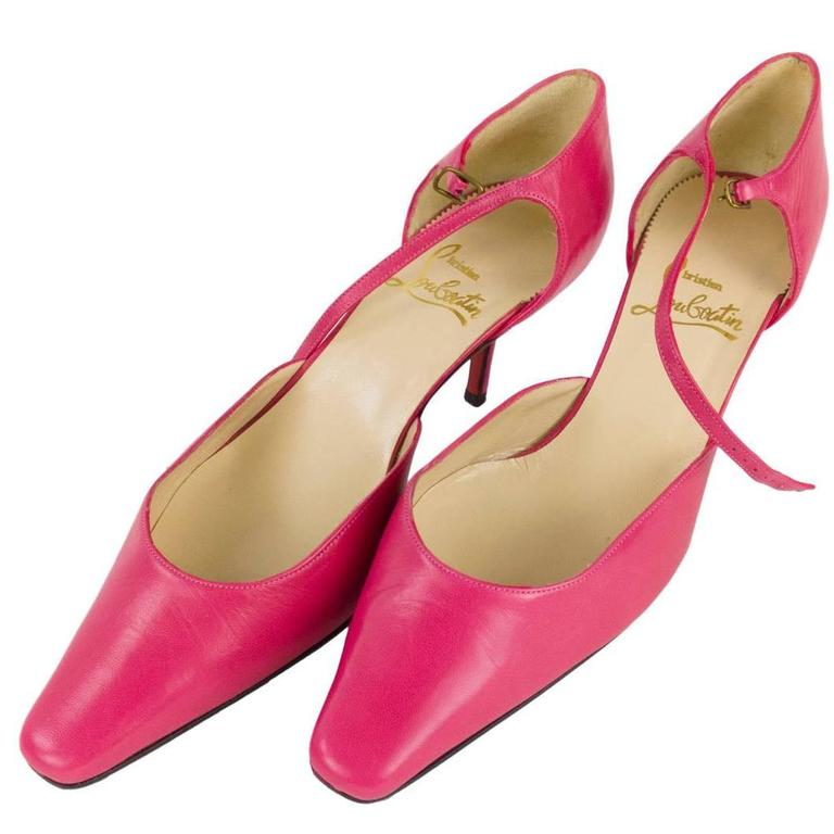 Christian Louboutin Pointy Toe Leather Hot Pink Fuscia Shoes Size 39.5 1